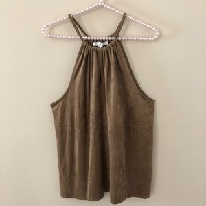 NWT Max Studio Brown Faux Suede Sleeveless Top
